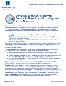Content Distribution: Amplifying Content in Many Sales, Marketing