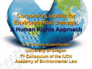 Corporate Liability - IUCN Academy of Environmental Law