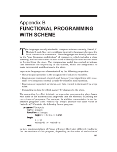 Appendix B FUNCTIONAL PROGRAMMING WITH SCHEME
