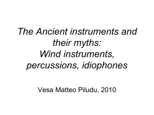 Wind instruments, percussions, idiophones