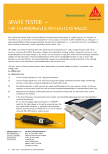 Spark Tester for Thermoplastic Waterstop Welds