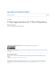 P-Value Approximations for T-Tests of Hypothesis
