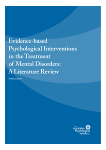 Evidence-based Psychological Interventions in the Treatment of