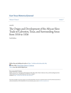 The Origin and Development of the African Slave Trade in Galveston