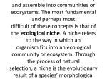 NICHE CONCEPT Every organism has a place to live in nature, a