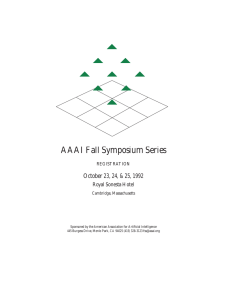 AAAI Fall Symposium Series - Association for the Advancement of