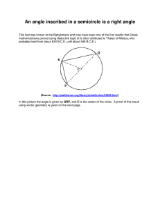 An angle inscribed in a semicircle is a right angle