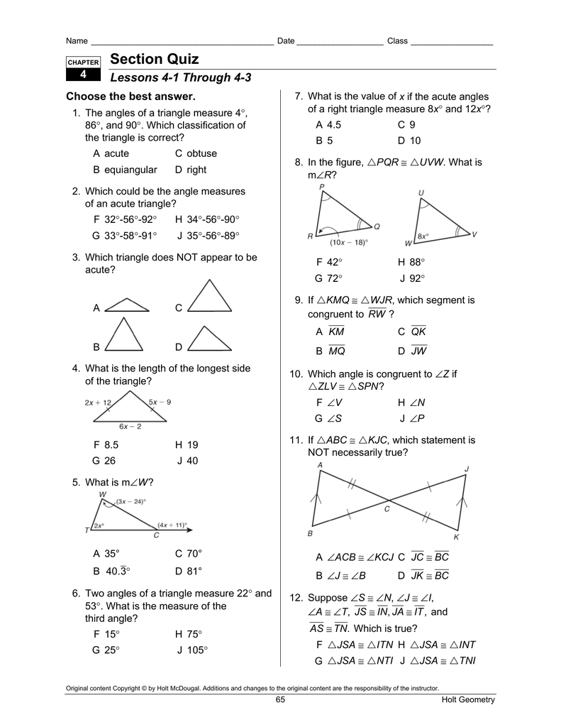 Bestseller: Holt Geometry Chapter 5 Test Answer Key