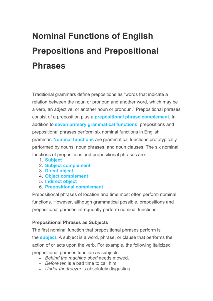 prepositional phrases as subject complements