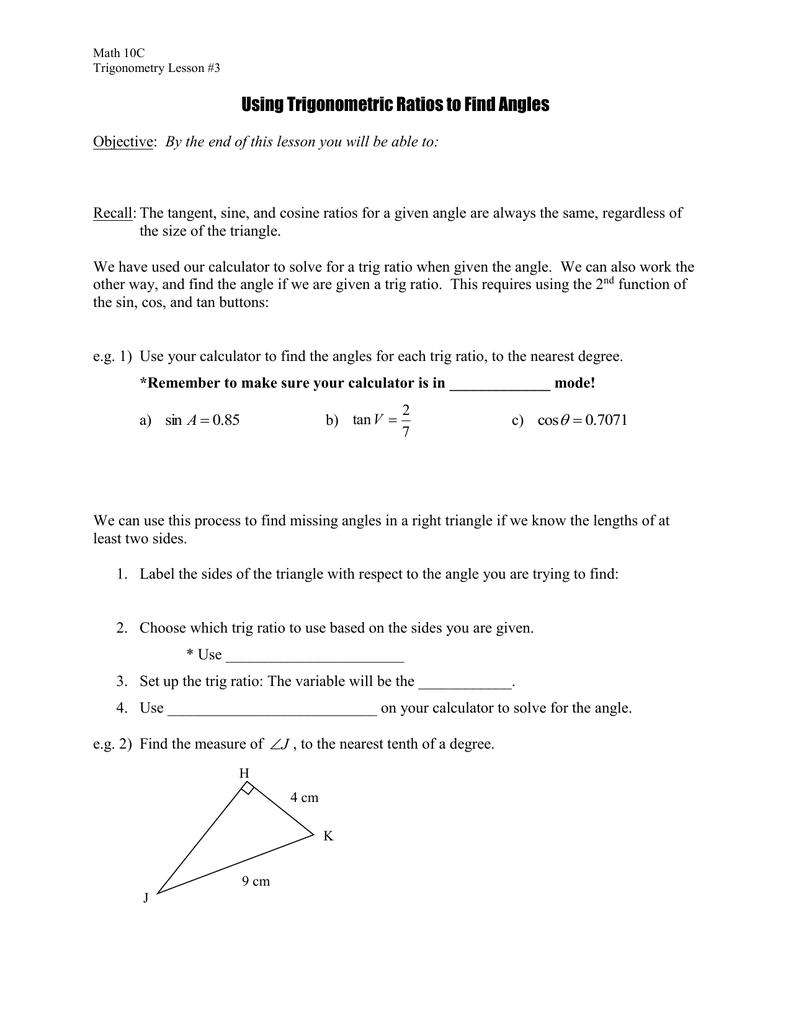 Trigonometry 3 - Finding Angles