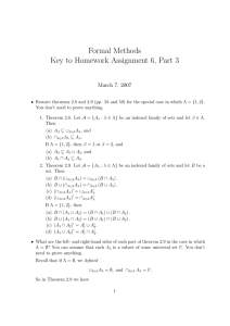 Formal Methods Key to Homework Assignment 6, Part 3