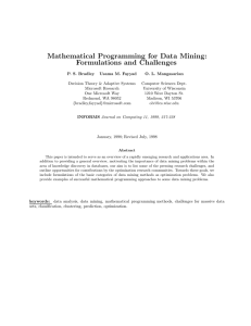 Mathematical Programming for Data Mining