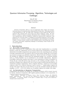 Quantum Information Processing: Algorithms, Technologies and