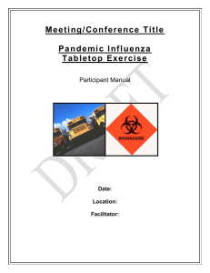 Pandemic Influenza Tabletop Exercise Participant`s Manual