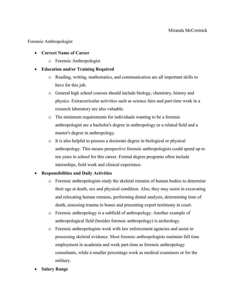 Forensic Anthropologist Career Journal