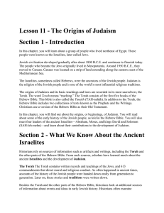 Lesson 11 - The Origins of Judaism