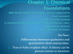 Chapter 1: Chemical Foundations
