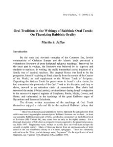 Oral Tradition in the Writings of Rabbinic Oral Torah