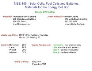 MSE 156 - Solar Cells, Fuel Cells and Batteries: Materials for the