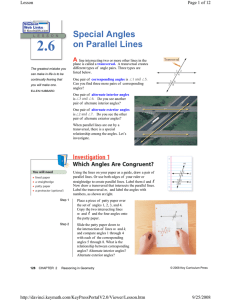 Special Angles on Parallel Lines