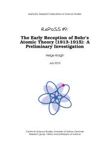 RePoSS #9: The Early Reception of Bohr`s Atomic Theory (1913