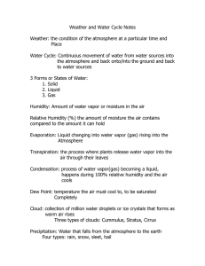 Weather and Water Cycle Notes