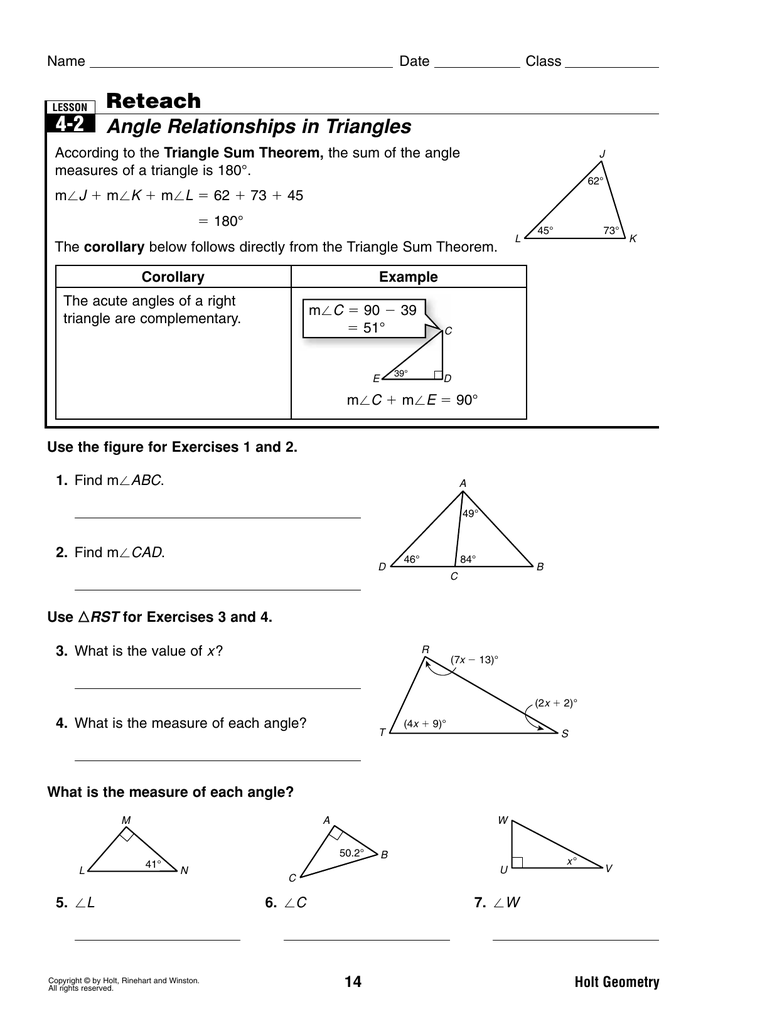 4 2 reteach angle relationships in triangles ccuart Choice Image