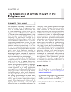 The Emergence of Jewish Thought in the Enlightenment