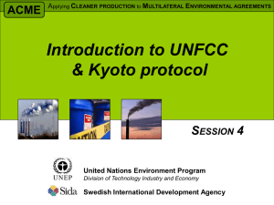 Introduction to UNFCCC and Kyoto protocol