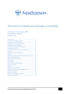 The Actions of Molecular Hydrogen in the Body