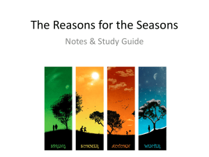 Reasons for the Seasons Notes