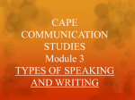CAPE COMMUNICATION STUDIES Module 3 TYPES OF