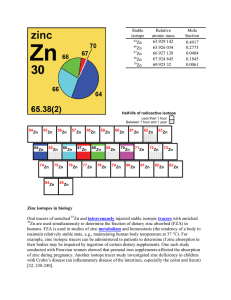 Zinc isotopes in biology Oral tracers of enriched Zn and