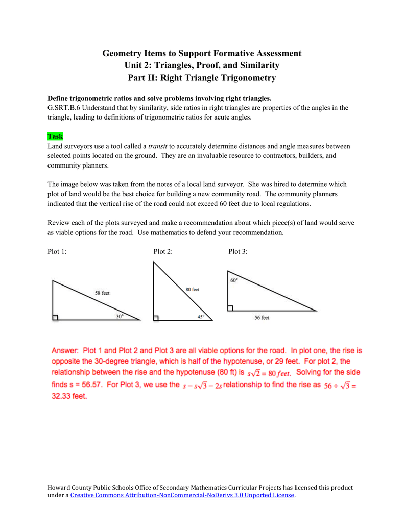 Common Core Geometry Unit 2 Items to Support Formative