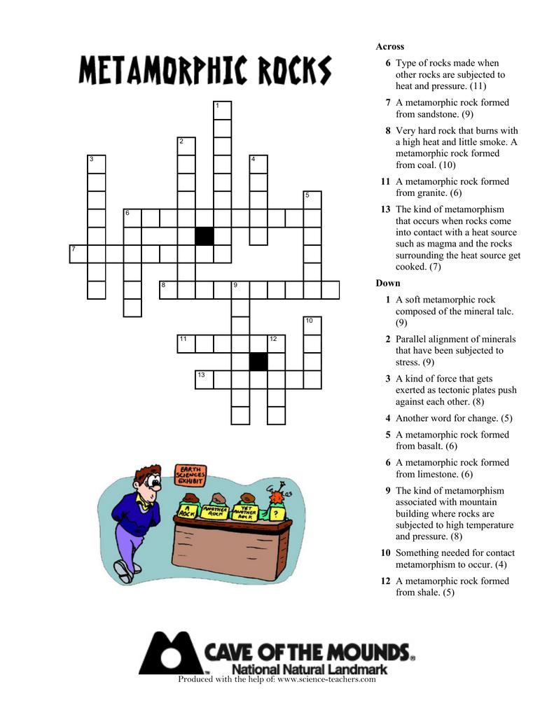 Metamorphic Rocks Crossword