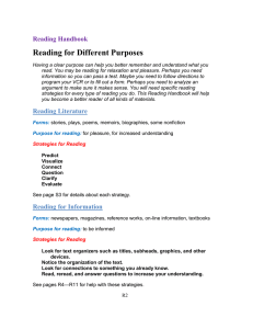 Reading Handbook Reading for Different Purposes Having a clear
