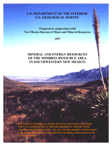 Mineral and Energy Resources of the Mimbres Resource Area