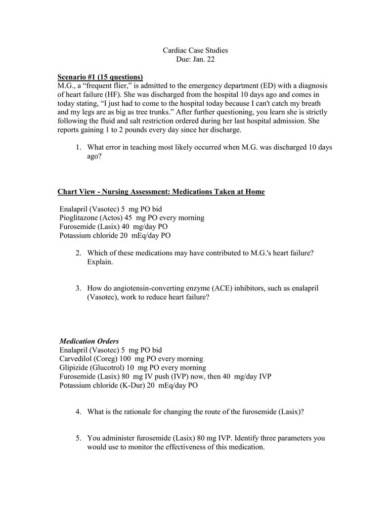 Cardiac Case Studies Due: Jan  22 Scenario #1 (15 questions
