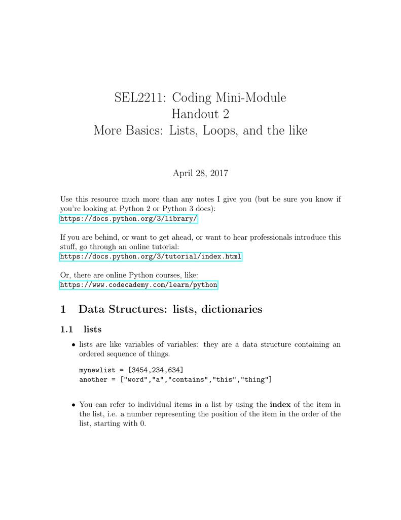 SEL2211: Coding Mini-Module Handout 2 More Basics: Lists