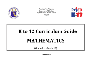 Math Curriculum Guide - Grades 1 to 10