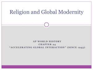 Religion and Global Modernity - AP World History with Ms. Cona