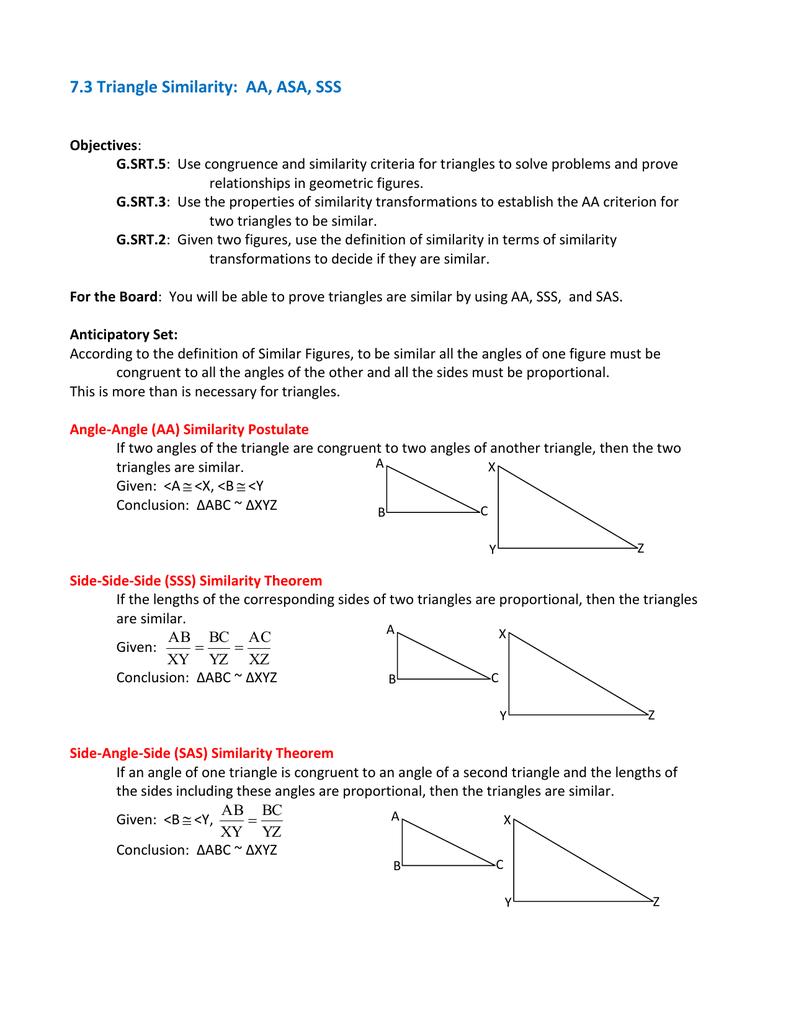 7 3 Triangle Similarity: AA, ASA, SSS