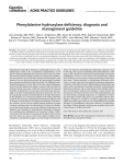 Phenylalanine hydroxylase deficiency: diagnosis and management