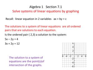 Algebra 1 Section 7.1 Solve systems of linear equations