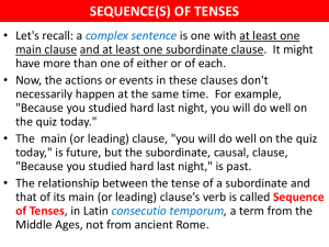sequence(s) of tenses