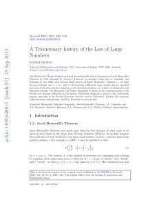 A Tricentenary history of the Law of Large Numbers