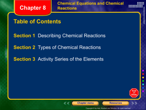 Chapter 8 - Chemical Equations and Reactions