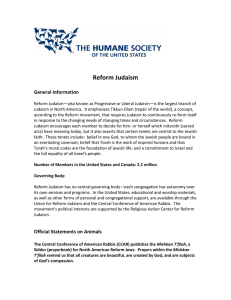 Reform Judaism - The Humane Society of the United States