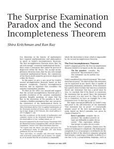 The Surprise Examination Paradox and the Second Incompleteness