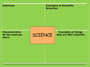 Notes #1 Nature of Science / Branches of Biology power point